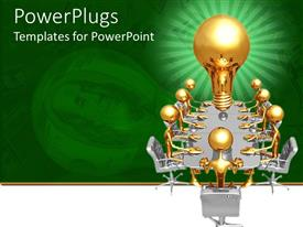Amazing PPT theme consisting of green and white background with men sitting round table and light bulb