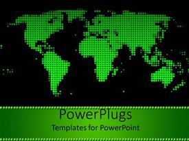 Amazing PPT theme consisting of green world map on black background