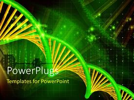 Elegant slides enhanced with green and yellow DNA strand over binary codes and digital background
