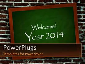 PPT theme with a greenboard with the words of welcoming new year