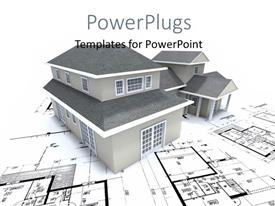 Amazing PPT layouts consisting of grey building over architectural blueprint and plan
