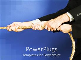 Beautiful slide deck with group of arms in black suit jackets with hands holding rope, teamwork