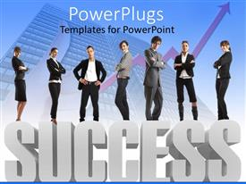 Beautiful PPT layouts with group of business people standing on 3D gray success word with rising arrow and business building fading in the background