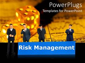 Slide set having a group of businessman together thinking about risk management