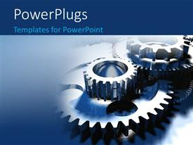 Presentation design with group of different sized gears on blue background