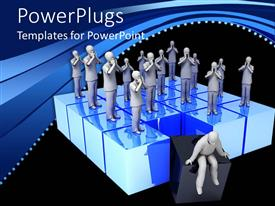 Presentation design with group of distraught looking figures standing on blue boxes with one thoughtful figure sitting