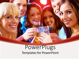 Slides having a group of friends drinking together in a celebration mood