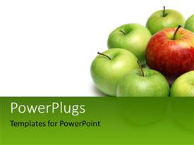 Colorful PPT layouts having group of green apples arranged around red apple
