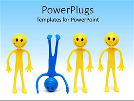 Audience Pleasing Presentation Theme Featuring A Group Of Happy Figures With Naughty One Template Size