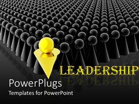 Colorful PPT theme having a group of look alike figures with a golden figure in front as a leader
