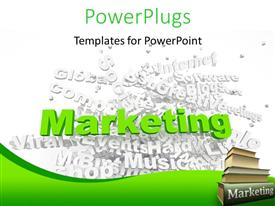 PPT layouts consisting of group of marketing related keywords and marketing books