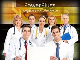 Amazing theme consisting of group of medical doctors smiling with stethoscope on shoulder