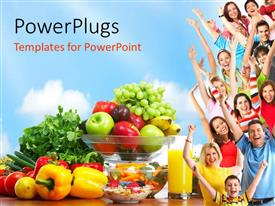 PPT layouts featuring group of people with fresh fruits and vegetables depicting healthy lifestyle