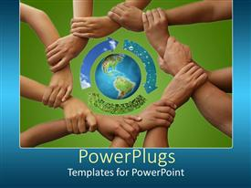 Beautiful PPT layouts with a group of people holding each other's hands and protecting the Earth