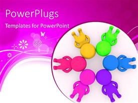 PPT theme having group of people making circle with their heads together, abstract design