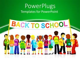 Slide deck enhanced with group of pupils holding a large colored back to school banner on white and green background
