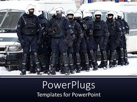 Beautiful slides with group of riot police officers ready for action