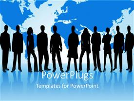 Amazing PPT theme consisting of group of silhouettes of business people with world map on blue reflective surface