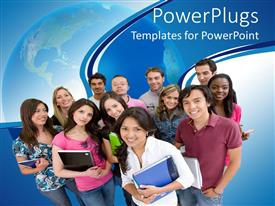 Presentation design enhanced with group of smiling college students standing together with note books and other supplies