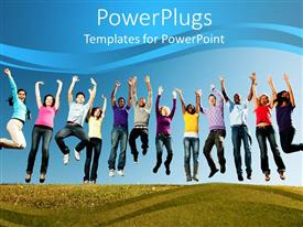 Youth powerpoint templates ppt themes with youth backgrounds ppt layouts having group of smiling young people jumped with arms stretched to sky toneelgroepblik Images