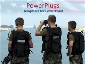 PPT theme with the group of soldiers along with their security accessories