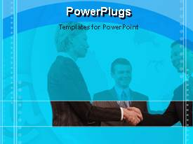 Amazing PPT theme consisting of group of three smiling business people making deal on blue background bordered by animated circles
