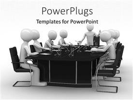 Colorful slide deck having group of white figures sitting around black table with microphones