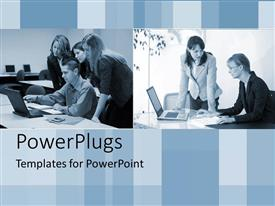 PPT theme featuring groups of business people working around laptops