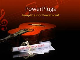 Beautiful presentation theme with a guitar with a number of folded papers