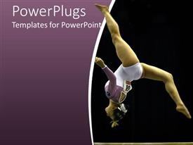 Elegant theme enhanced with gymnast woman, athlete making a somersault on purple and black background