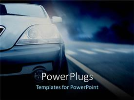 PPT layouts with half of car with headlights on, nighttime highway driving