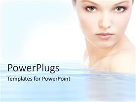Elegant PPT theme enhanced with half portrait of a pretty lady on clear water
