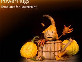 Audience pleasing presentation featuring halloween figure in wooden basket next to old pumpkins
