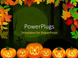 Presentation theme with halloween theme background in multiple color leaves and pumpkins
