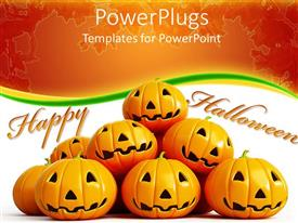 PPT layouts consisting of halloween theme with happy halloween message and halloween pumpkin faces