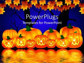 Slides consisting of halloween theme with pumpkins reflecting in water and trees with rusty leaves