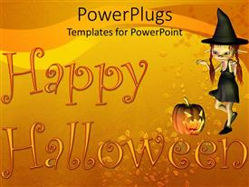 Presentation theme featuring a Halloween witch with a text that spell out the word