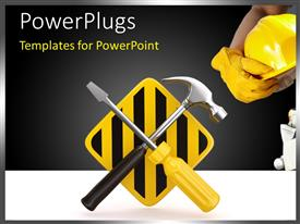 Colorful PPT theme having a hammer and a screw driver with a hat
