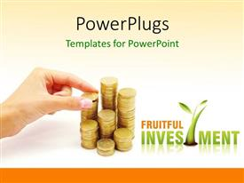 PPT theme having hand arranging stack of coins on white background depicting financial investment