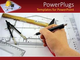 Blueprint powerpoint templates ppt themes with blueprint backgrounds audience pleasing presentation theme featuring hand completing an architect design for a house blueprint with architects malvernweather Image collections