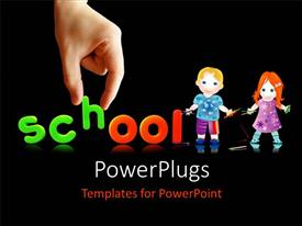 Presentation design featuring hand completing colorful word SCHOOL with two kids holding pencils