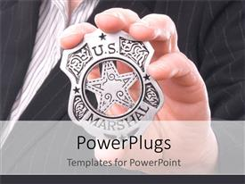 Presentation design featuring hand gripping US Marshall badge, business suit background