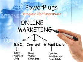 Colorful PPT theme having hand holding black marker next to Online Marketing mind map