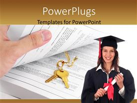 Theme having hand holding book reveals gold key in middle with female graduant