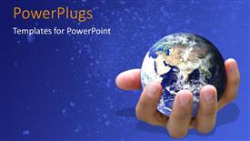 Amazing PPT layouts consisting of earth globe in human hand over blue background