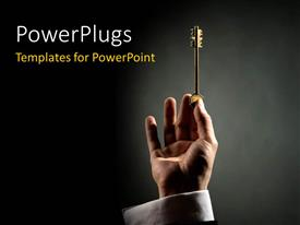 Amazing slide deck consisting of hand holding gold key up over black surface with light glow