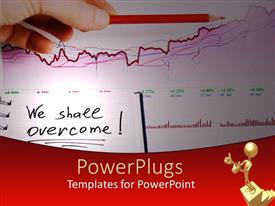PPT theme featuring a hand holding a red pencil on a graph