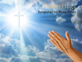 PPT layouts with a hand holding a rosary with a cross in the sky