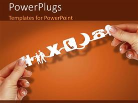 Beautiful PPT theme with hAnd holding social media related icons on orange background