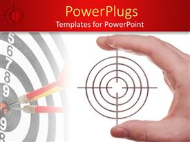 PPT layouts enhanced with hand holding target, dart board background, red border